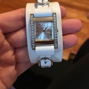 guess white leather band watch